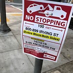 Parking & Traffic Sign Repair at 801 Irving St